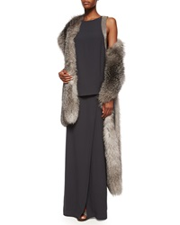 Brunello Cucinelli Silver Fox Fur And Cashmere Shawl