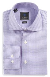 David Donahue Men's Big And Tall Trim Fit Check Dress Shirt Lilac