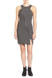 Painted Threads Stripe Knit Body Con Dress Juniors Black