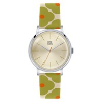 Orla Kiely Women's Floral Strap Leather Strap Watch Green Cream