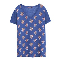 Violeta By Mango Paisley T Shirt Bright Blue