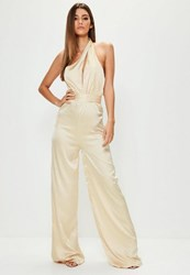 Missguided Tall Exclusive Nude Satin Halter Neck Cut Out Jumpsuit