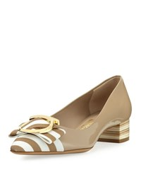 Salvatore Ferragamo Ezia Patent Striped Bow Pump Neutral