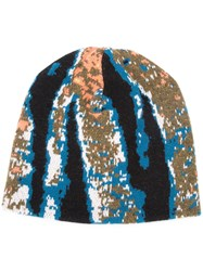 Baja East Abstract Tiger Stripe Beanie Unisex Cashmere One Size Blue