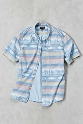 Cpo Blanket Stripe Denim Short Sleeve Button Down Shirt Cream