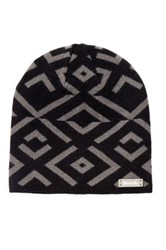 Bench Jet Black Patterned Knit Cuffed Beanie