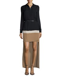 Haute Hippie Long Sleeve Belted Colorblock High Low Dress Black Bone Suntan Blk Ang Sun