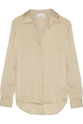 Dkny Stretch Silk Crepe De Chine Blouse Beige
