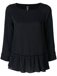 Marc Cain Long Sleeved Peplum Top Cotton Polyester Black