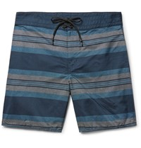 Outerknown Evolution Long Length Striped Econyl Swim Shorts Blue