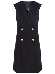 Jaeger Wool Button Detail Swirl Gilet Navy