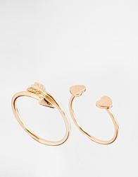 Asos Limited Edition Open Arrow And Heart Rings Rosegold