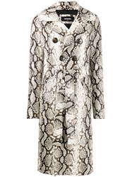 Dsquared2 Python Print Trench Coat Neutrals