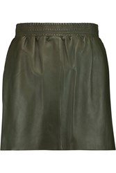 M Missoni Leather Mini Skirt Green