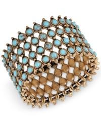 Lucky Brand Gold Tone Turquoise Look Bead Wide Cuff Bracelet