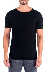 Unsimply Stitched Super Soft Relaxed Neck Short Sleeve Lounge Tee Black
