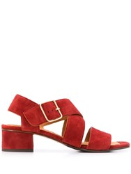 Chie Mihara Cross Strap Sandals Red