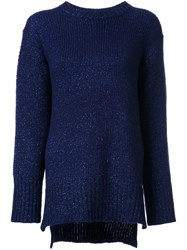 Astraet Slit Hem Crew Neck Jumper Blue