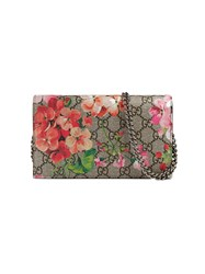 Gucci Gg Blooms Supreme Chain Wallet Women Leather Canvas One Size Silver