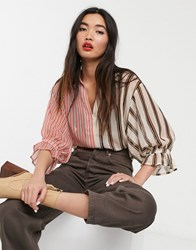 Soaked In Luxury Mix And Match Stripe Shirt Multi