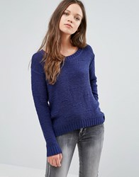 Ichi Open Knit Jumper Blue