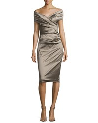 Talbot Runhof Nocky Off Shoulder Cocktail Dress Beige