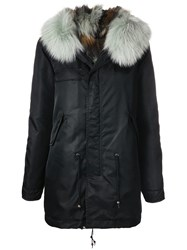 Mr And Mrs Italy Trimmed Hooded Parka Black