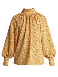 Anna October Floral Print High Neck Cotton Blouse Yellow Multi