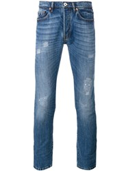 Valentino Distressed Skinny Jeans Blue