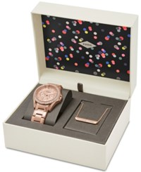 Fossil Women's Riley Rose Gold Tone Stainless Steel Bracelet Watch And Necklace Box Set 38Mm Es4138set First At Macy's