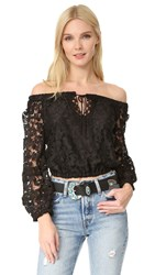 Temptation Positano Off Shoulder Crop Blouse Black