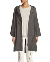 Eileen Fisher Hooded Organic Cotton Nylon Anorak Jacket Rye