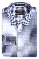 Nordstrom Men's Big And Tall Men's Shop Smartcare Tm Traditional Fit Check Dress Shirt Brown Fawn