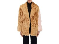 Calvin Klein 205W39nyc Women's Colorblocked Suri Alpaca Fur Coat Tan White