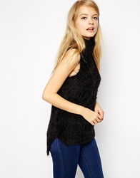 Asos Sleeveless Knit Top In Fluffy Yarn With Roll Neck Black
