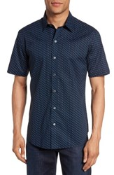 Zachary Prell Men's Print Short Sleeve Sport Shirt Navy