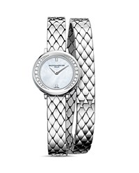 Baume And Mercier Petite Promesse Diamond Double Wrap Watch 22Mm White Silver