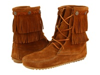 Minnetonka Double Fringe Front Lace Boot Brown Suede Women's Lace Up Boots
