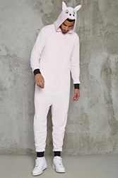 Forever 21 Men Pig Graphic Jumpsuit Pink