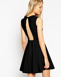 Asos Sleeveless Skater Dress With Cut Out Back Detail Black