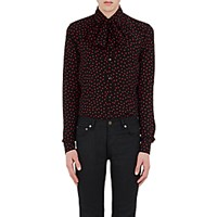 Saint Laurent Men's Polka Dot Scarf Neck Top Black Red No Color Black Red No Color