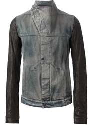 Rick Owens Drkshdw Leather Sleeve Denim Jacket Blue