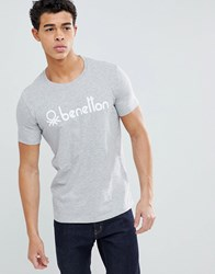 United Colors Of Benetton Crew Neck T Shirt With Logo Grey