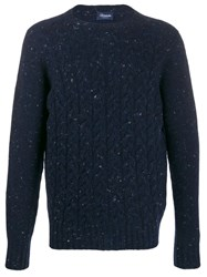 Drumohr Crew Neck Cable Knit Sweater Blue