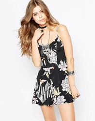 Band Of Gypsies Playsuit In Floral Print Black And Purple