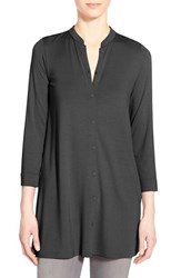 Women's Eileen Fisher Jersey Mandarin Collar Tunic Black