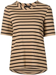 Belstaff Striped Half Sleeve T Shirt Brown
