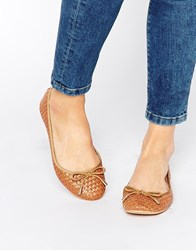 Truffle Collection Weave Ballet Flats Tan Weave Pu
