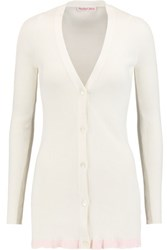 See By Chloe Ribbed Knit Cotton Cardigan Cream