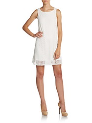 Saks Fifth Avenue Red Crochet Lace Shift Dress White